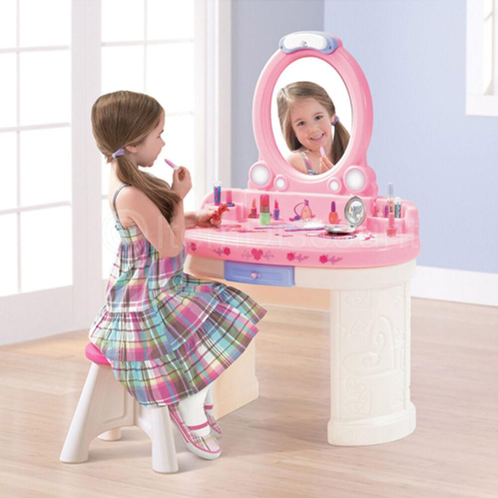 Kids Vanity Table  Kids Girls Play Toy Vanity Set Light Plastic Mirror Stool