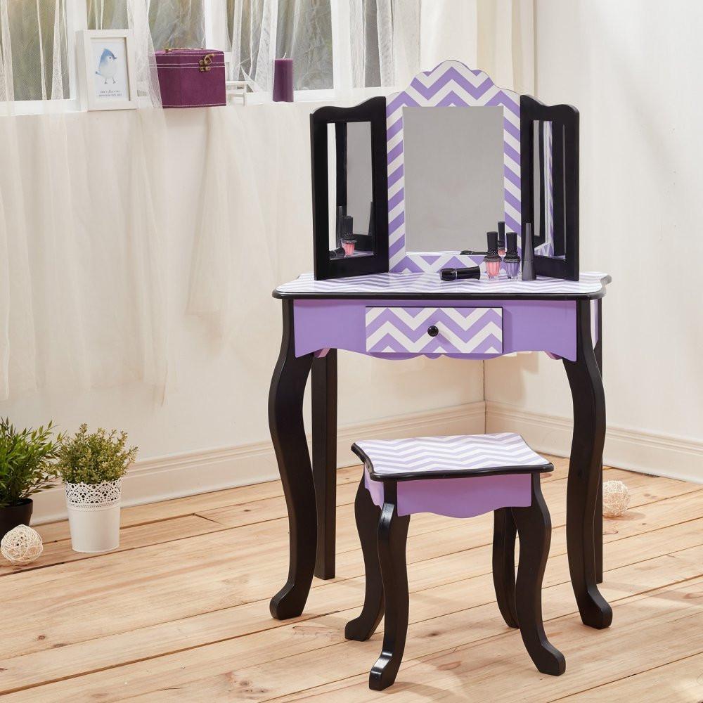 Kids Vanity Table  Kids Vanity Table Wooden Fashion Girls Furniture Stool Set