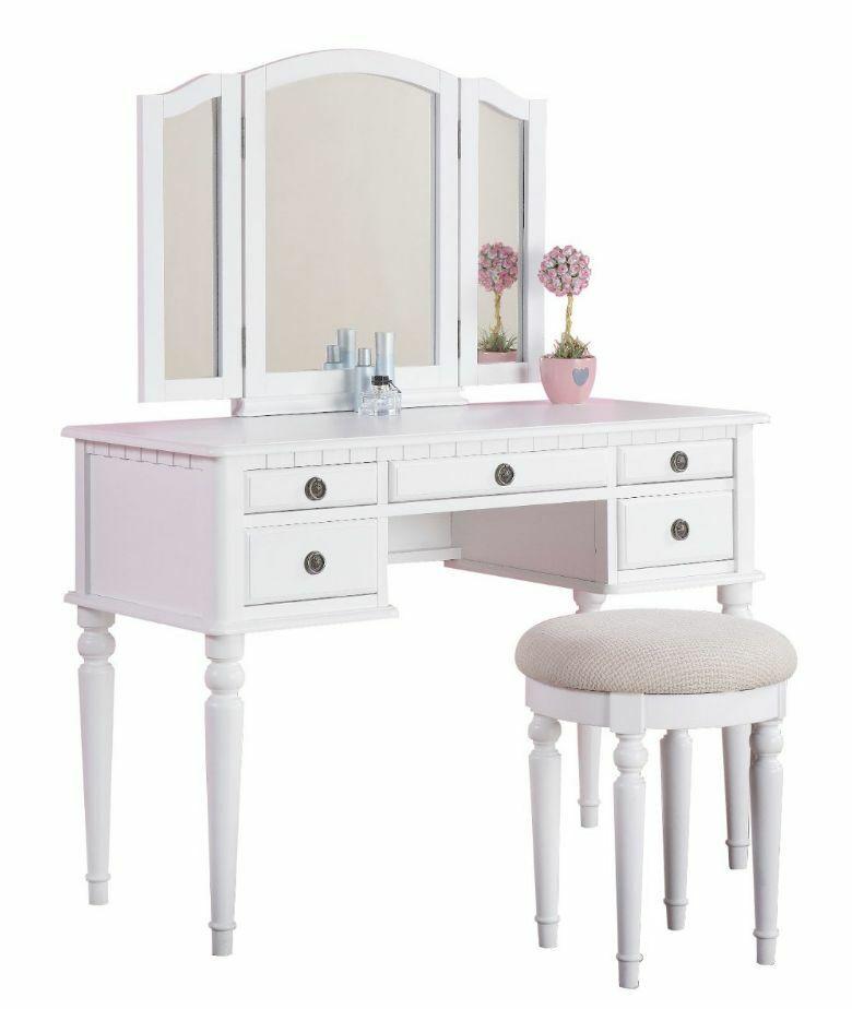 Kids Vanity Table  Vanity Set For Girls Table Stool Chair 3 Mirror Kids