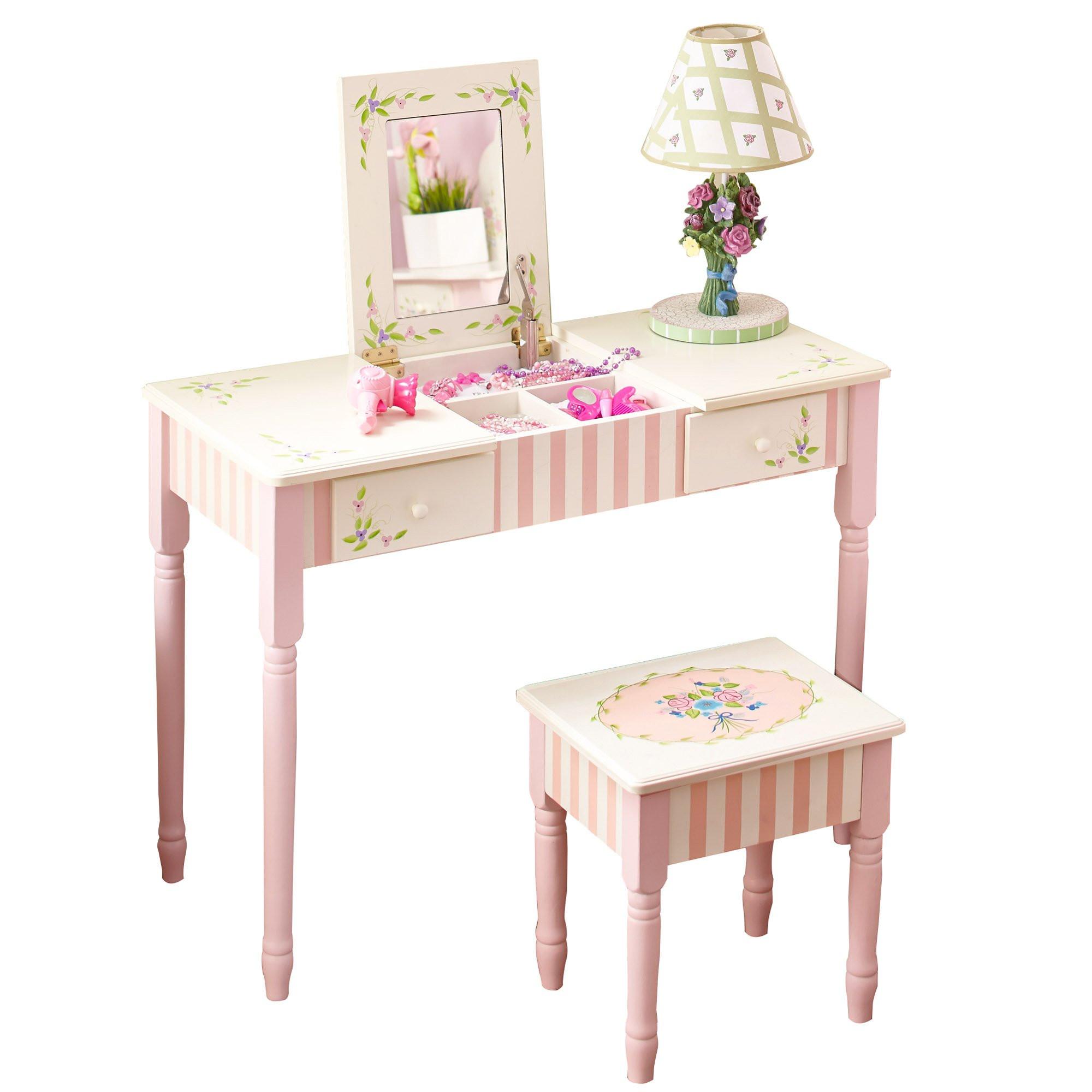 Kids Vanity Table  Fantasy Fields Bouquet Thematic Kids Flip Top Mirror