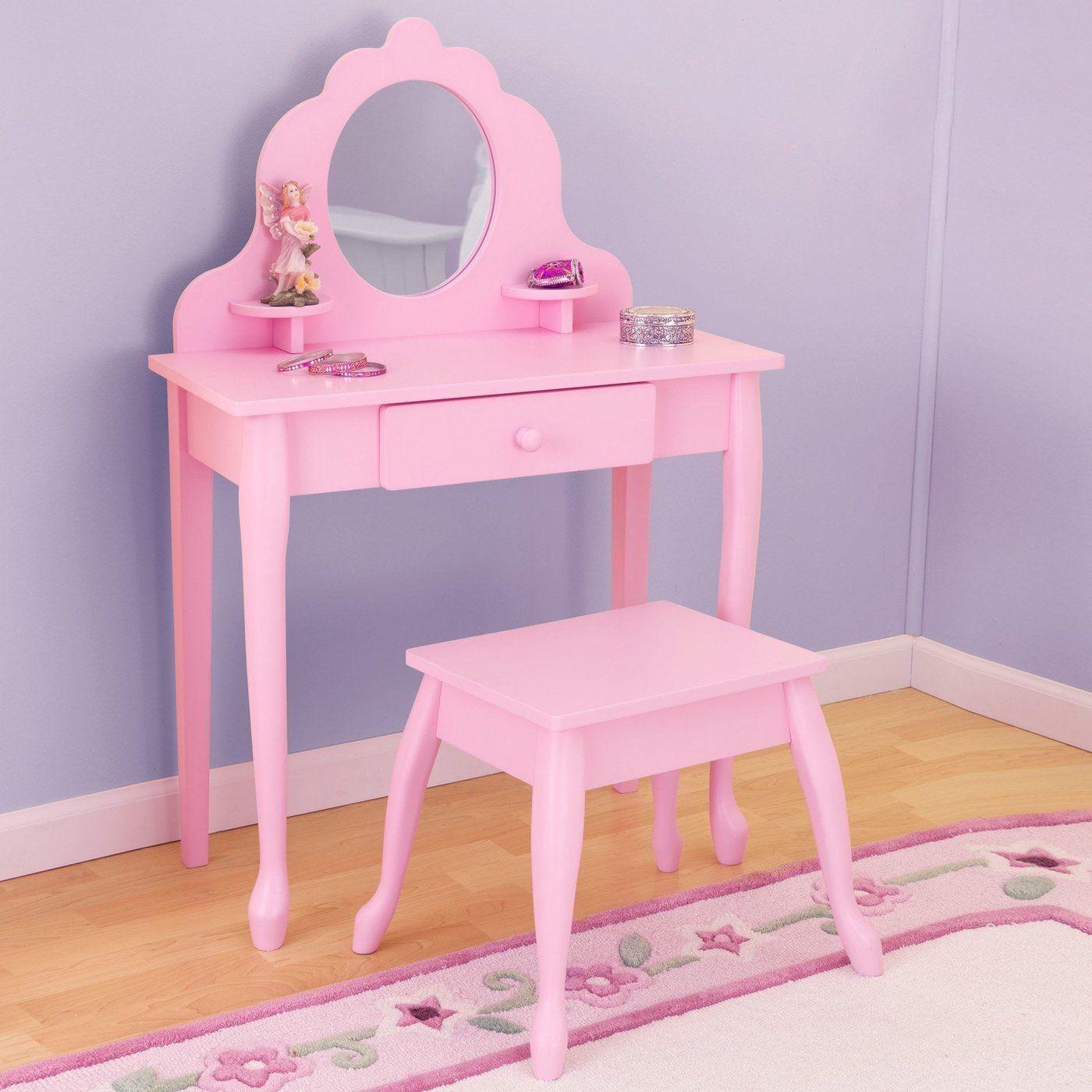 Kids Vanity Table  Kids Vanity Set Pink Girls Table Stool Mirror Bedroom Wood