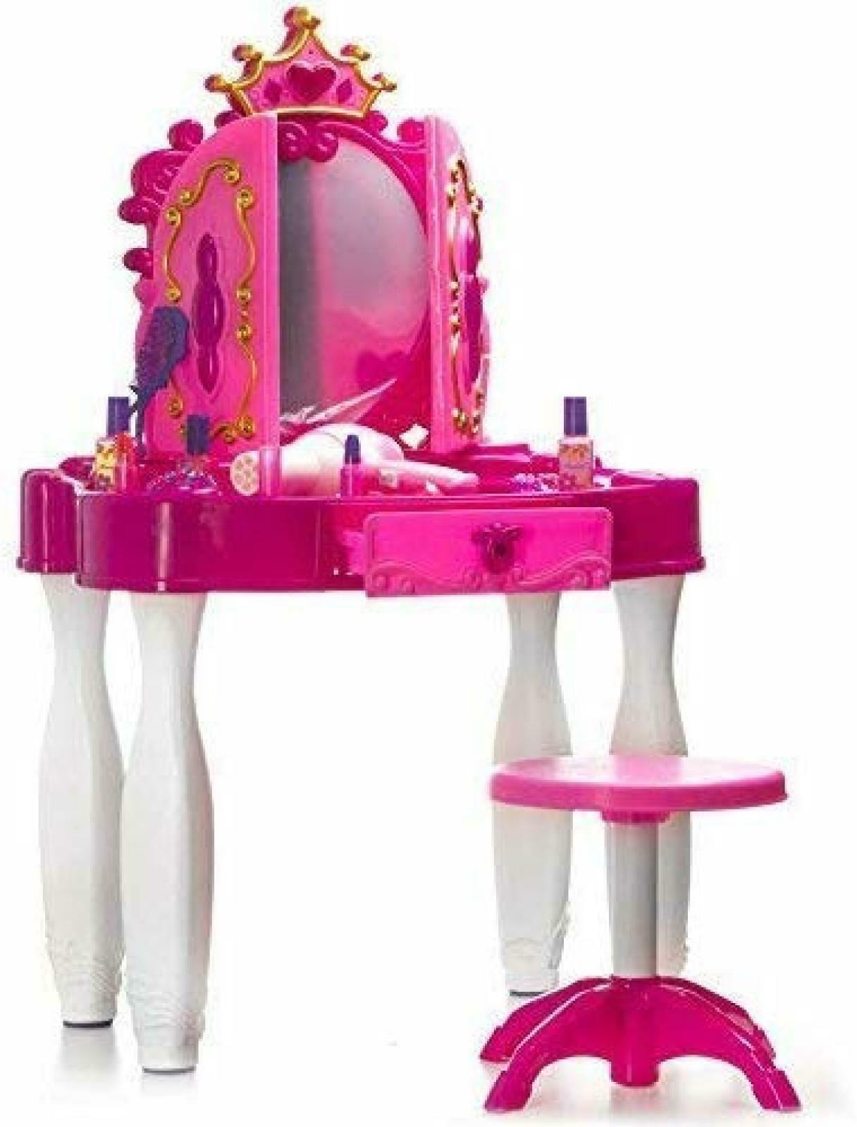 Kids Vanity Table  Pretend Play Kids Vanity Table and Chair Beauty Mirror and