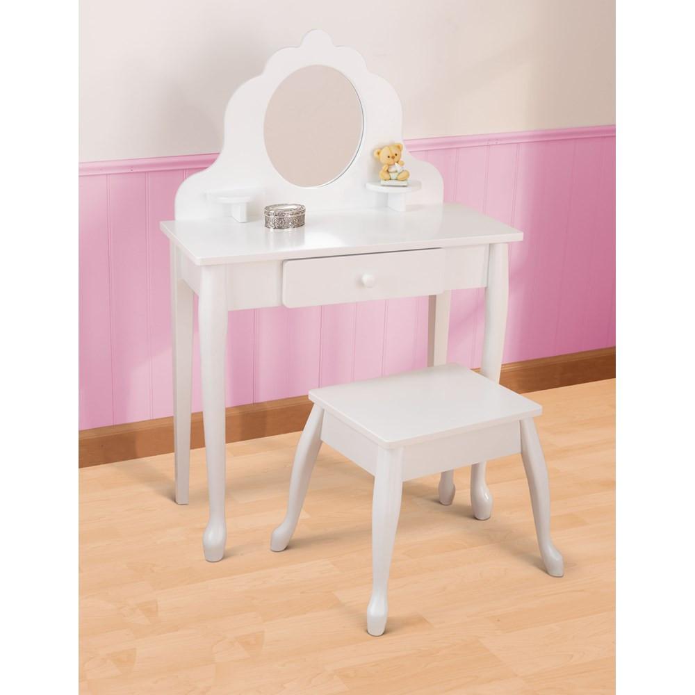 Kids Vanity Table  Kids Vanity Table & Stool in White Junior Rooms
