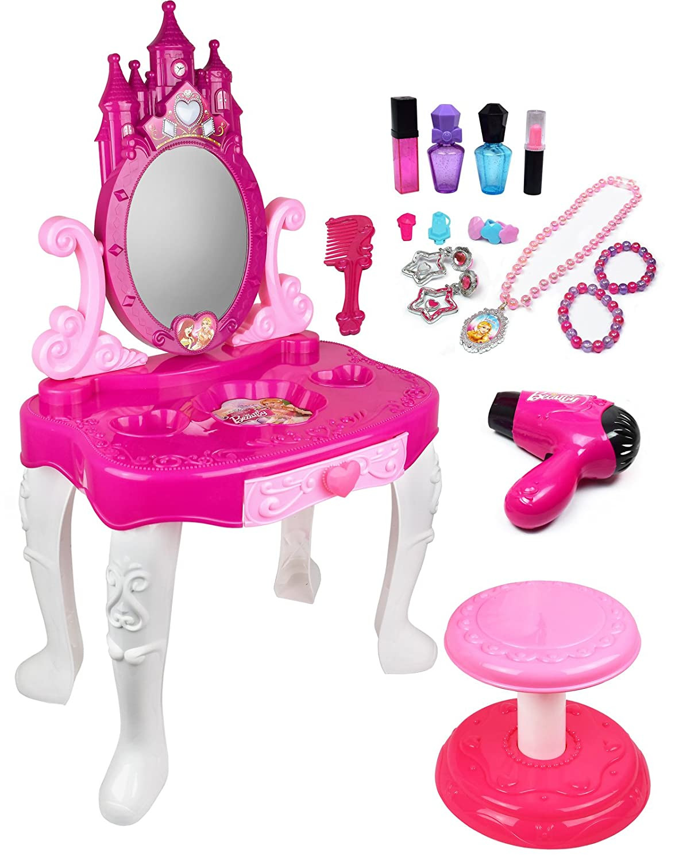 Kids Vanity Table  Kid Play Pretend Kids Vanity Table and Chair Beauty Set