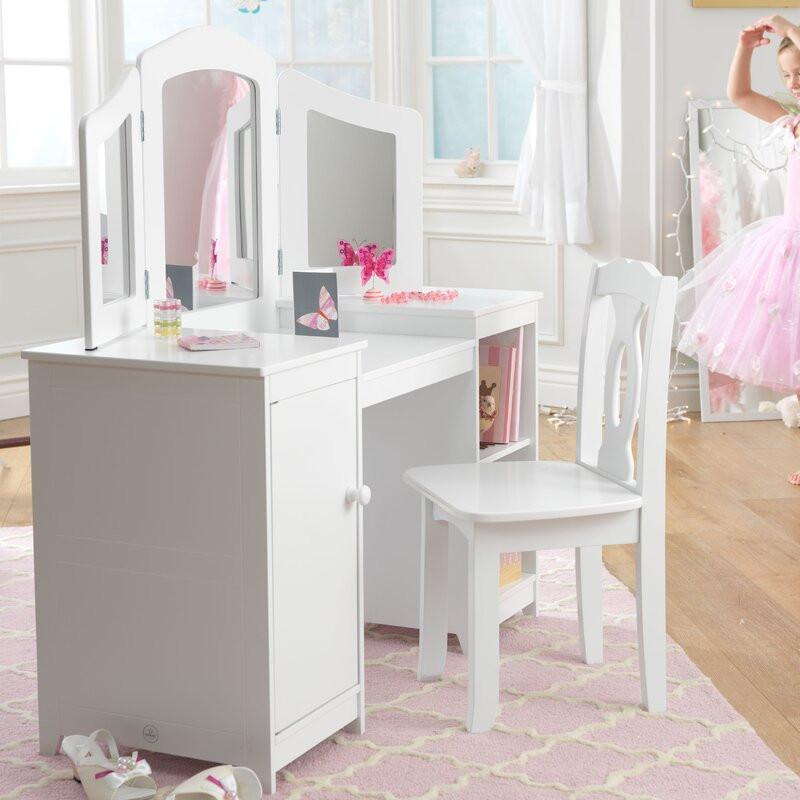 Kids Vanity Table  KidKraft Deluxe Vanity & Chair & Reviews