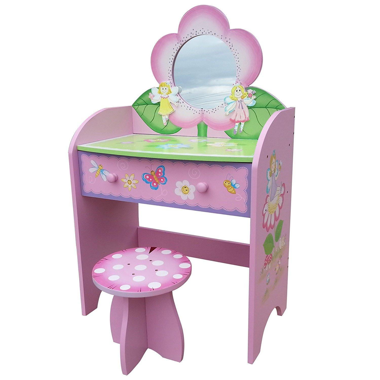 Kids Vanity Table  Childrens Dressing Table Stool Wooden Vanity Desk Fairy