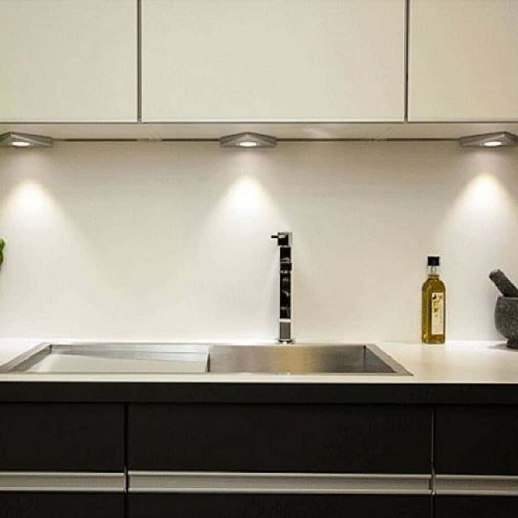 Kitchen Led Lights Under Cabinet  Contemporary Kitchen Designed With Undermount Sink And LED