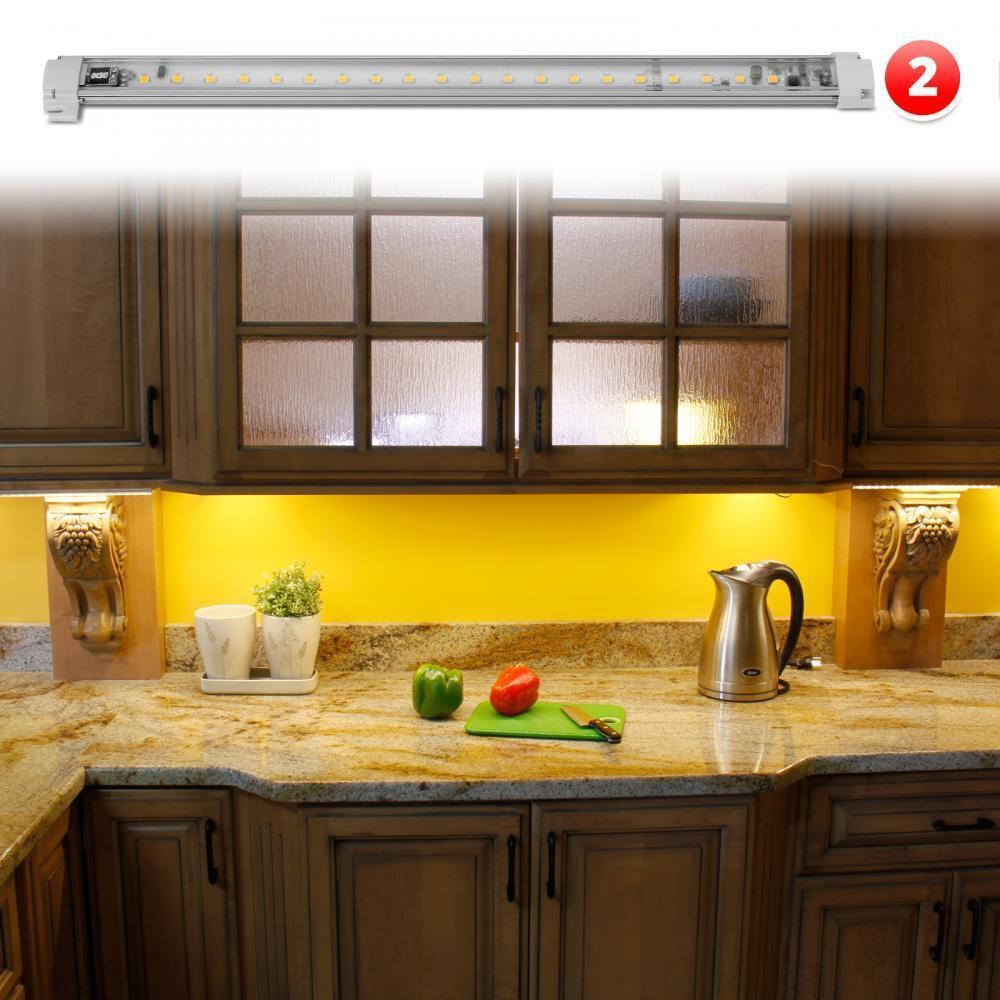 """Kitchen Led Lights Under Cabinet  LED Under Cabinet Lighting Warm White 2pc 12"""" Light Bar"""