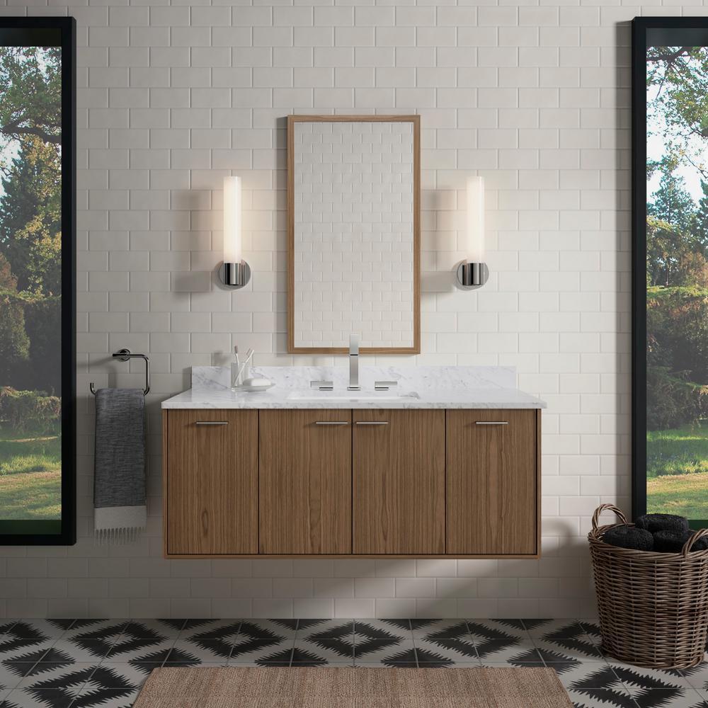 Kohler Bathroom Vanity  KOHLER Jute 48 in W Wall Hung Vanity in Walnut Flex with