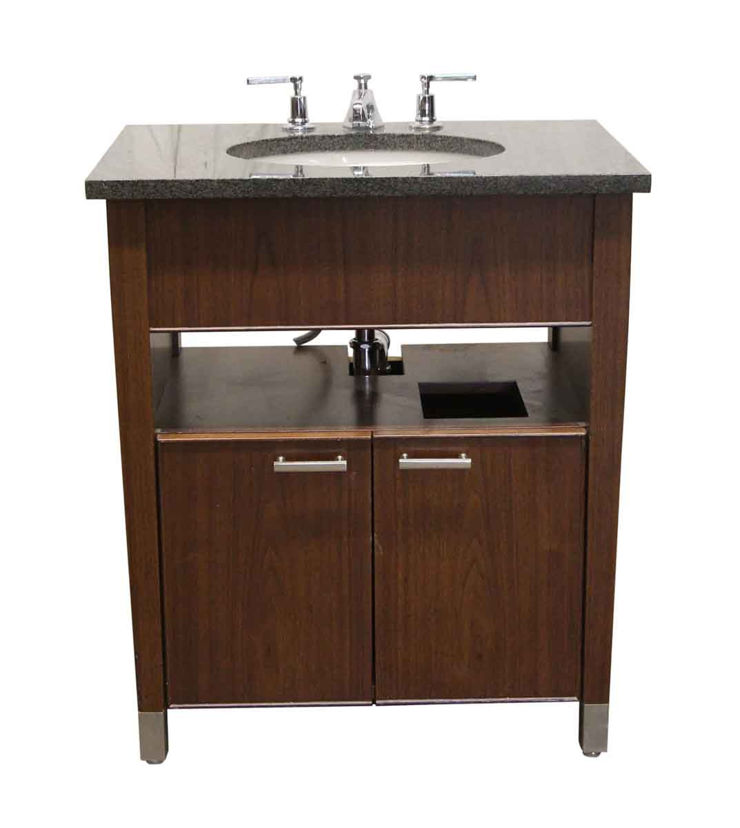 Kohler Bathroom Vanity  Kohler Black Granite Top & Walnut Bathroom Vanity with