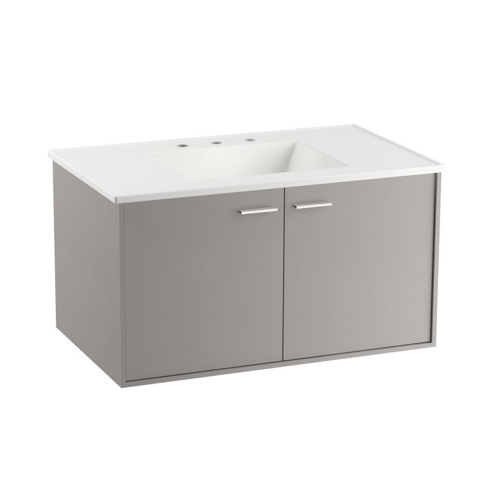Kohler Bathroom Vanity  KOHLER Jute 36 in W Wall Hung Vanity Cabinet in Mohair