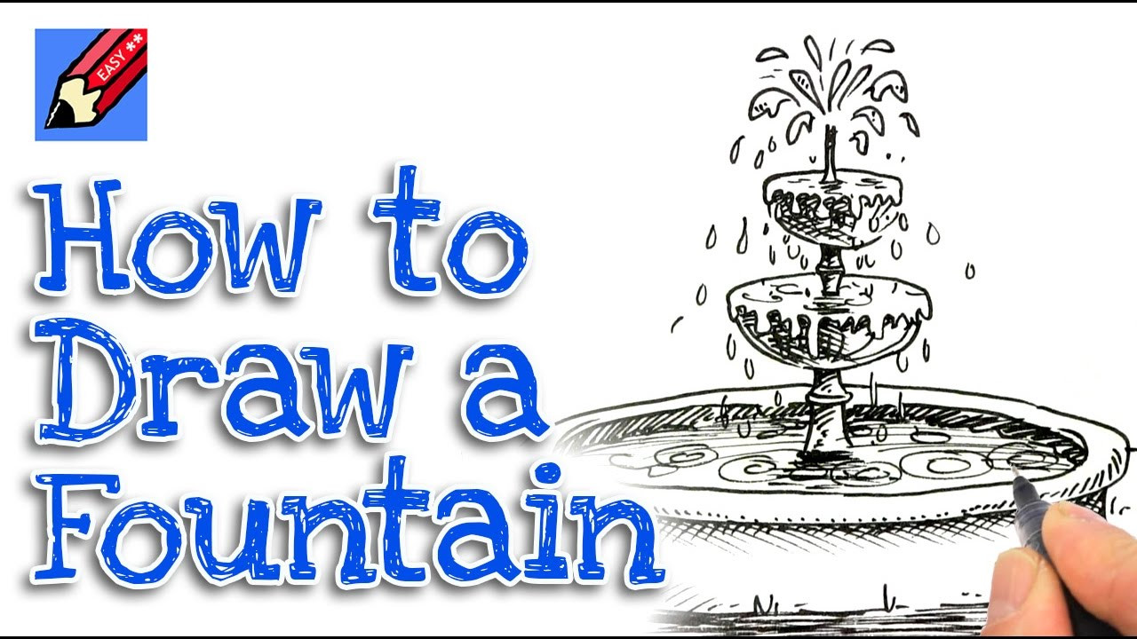 Landscape Fountain Sketch How to draw a garden Fountain in 3D real easy step by