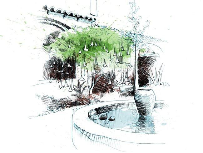 Landscape Fountain Sketch 8 Landscape Design Principles