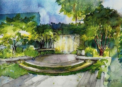 Landscape Fountain Sketch beautiful hand drawn perspectives by Helen Thomas Garden