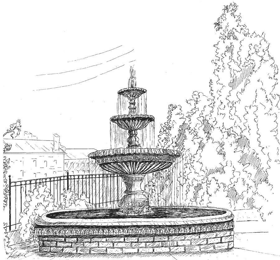 Landscape Fountain Sketch Prattville Fountain Drawing by Barney Hedrick