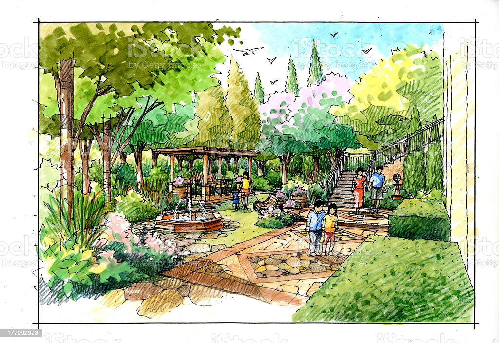 Landscape Fountain Sketch Landscape Garden Sketch Series Stock Vector Art & More