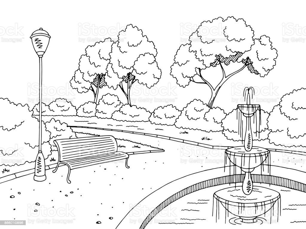 Landscape Fountain Sketch Park Fountain Graphic Black White Landscape Sketch