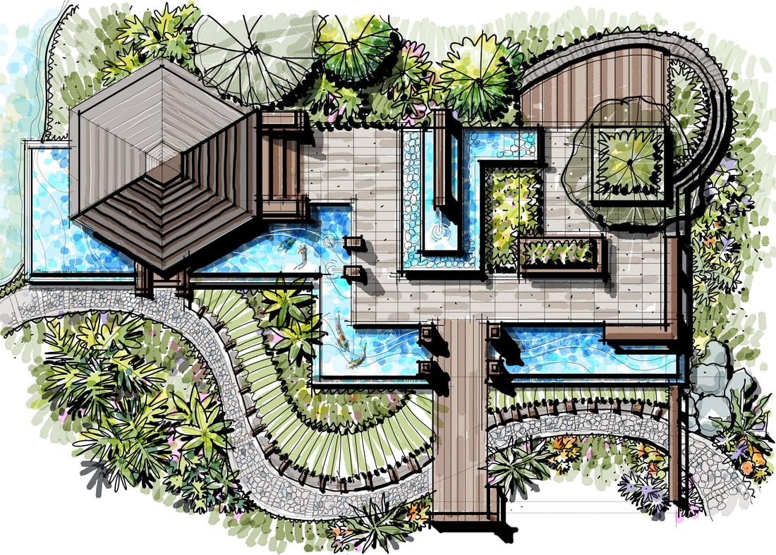 Landscape Fountain Sketch Freehand Master Plans JOHN SIMBORIO