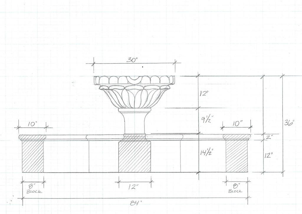 Landscape Fountain Sketch How to custom design a fountain by Sonoran Gardens