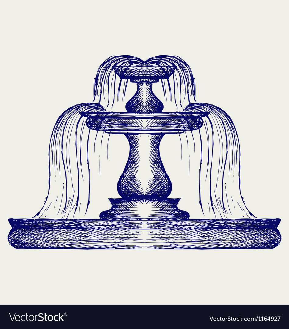 Landscape Fountain Sketch Fountain Royalty Free Vector Image VectorStock