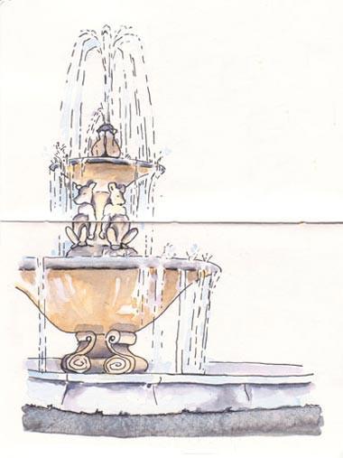Landscape Fountain Sketch SketchCrawl 01 Berkeley Sketching and Sketchbooks