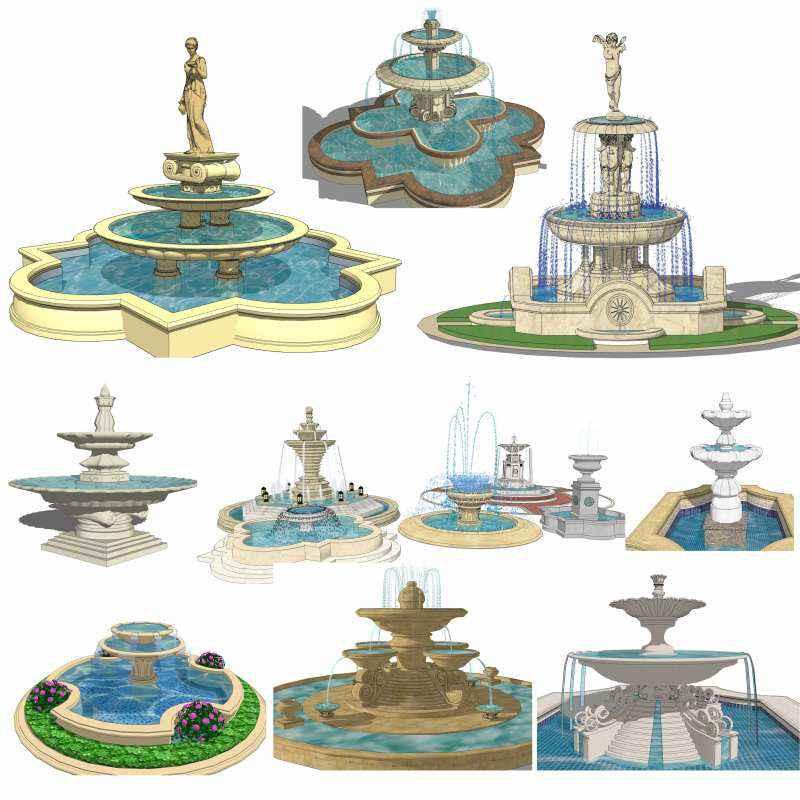 Landscape Fountain Sketch European Fountain Landscape Sketchup 3D Models Best