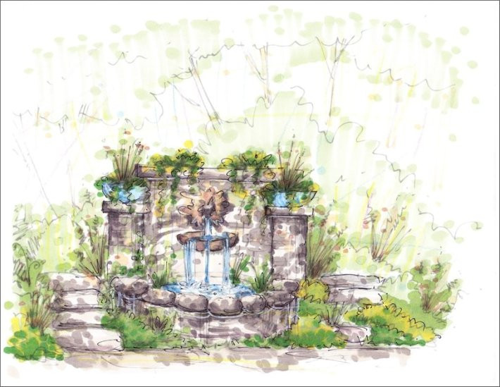 Landscape Fountain Sketch Perspective Drawings