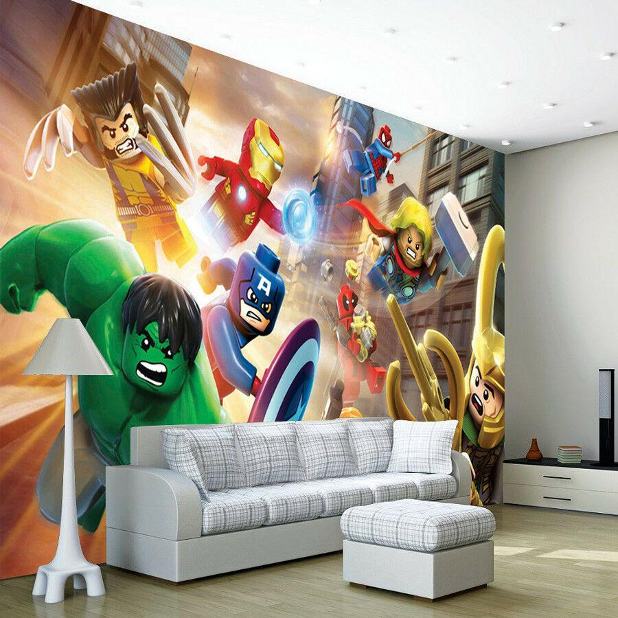 Lego Kids Room  Avengers Lego Heroes Wallpaper Wall Mural Bedroom
