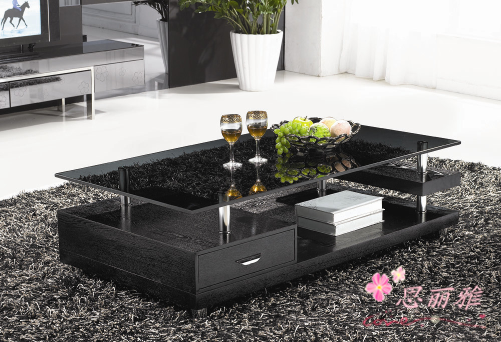 Living Room Glass Table  wooden coffee table glass tea table wooden end table