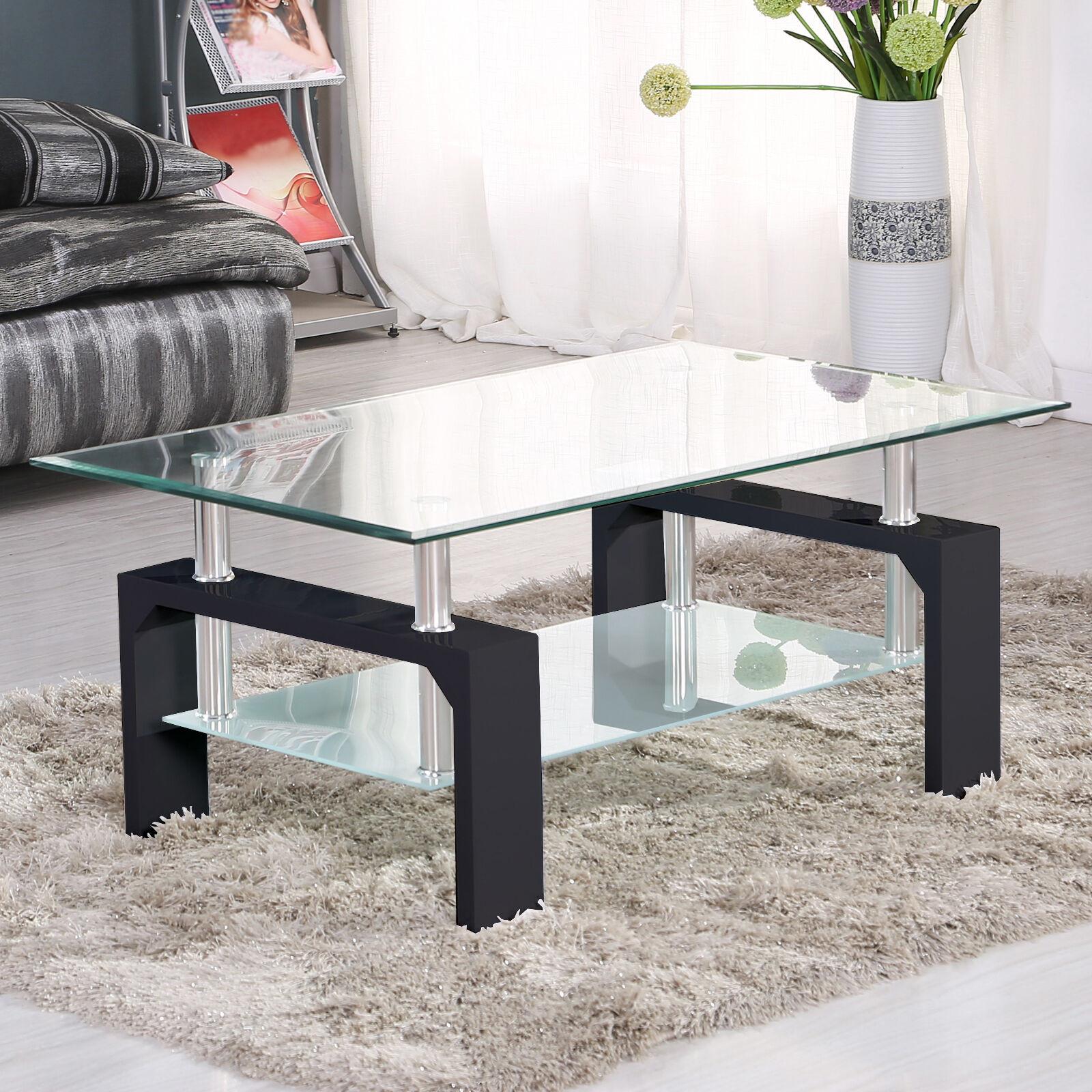 Living Room Glass Table  Modern Rectangular Black Glass Coffee Table Chrome Shelf