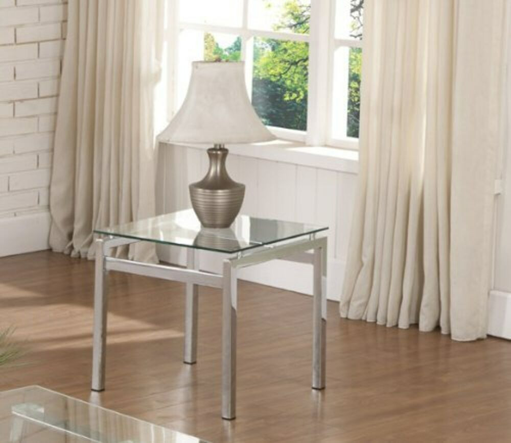 Living Room Glass Table  Chrome Finish Glass Top End Table Living Room Home