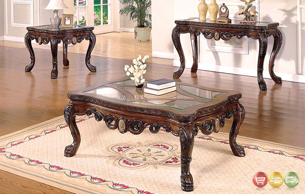 Living Room Glass Table  Ornate Traditional Living Room Occasional Tables 3 Piece