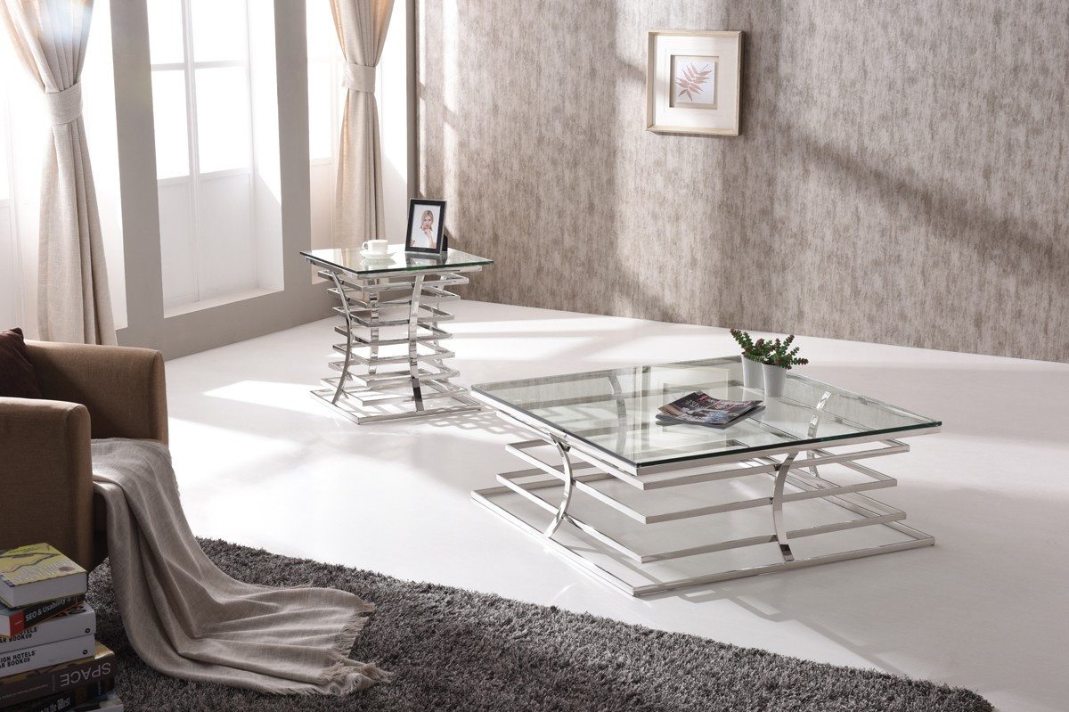 Living Room Glass Table  Modrest Snyder Modern Square Glass Coffee Table Coffee