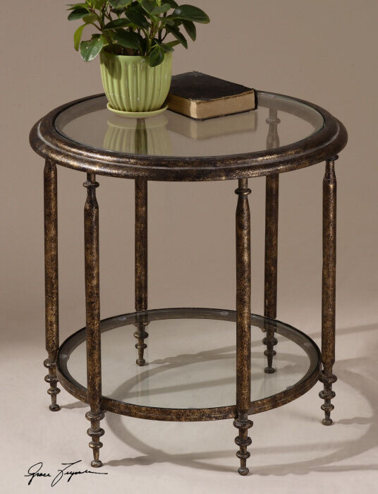 Living Room Glass Table  Accent Side End Table Formal Living Room Furniture Round