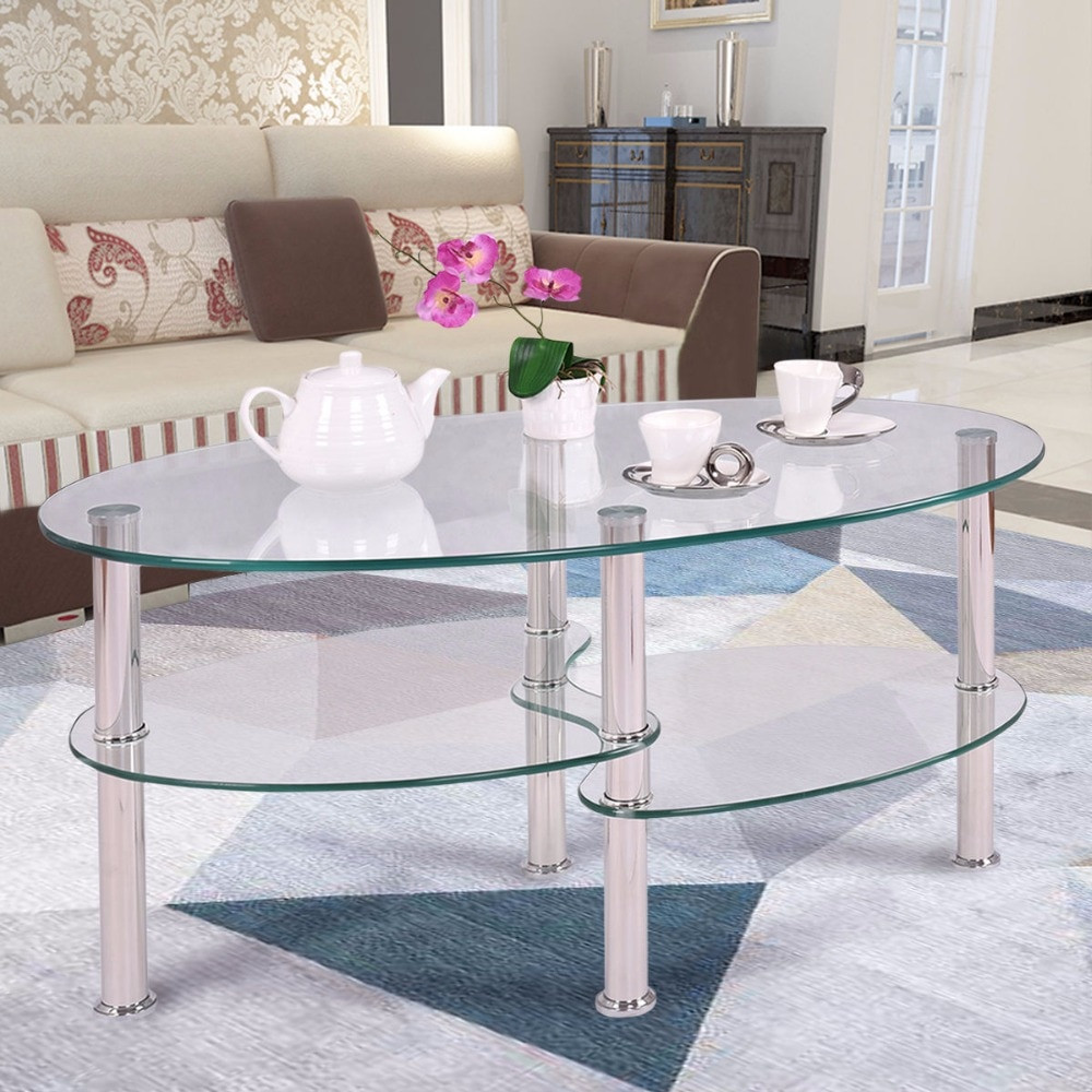 Living Room Glass Table  Goplus Tempered Glass Oval Side Coffee Table Shelf Chrome
