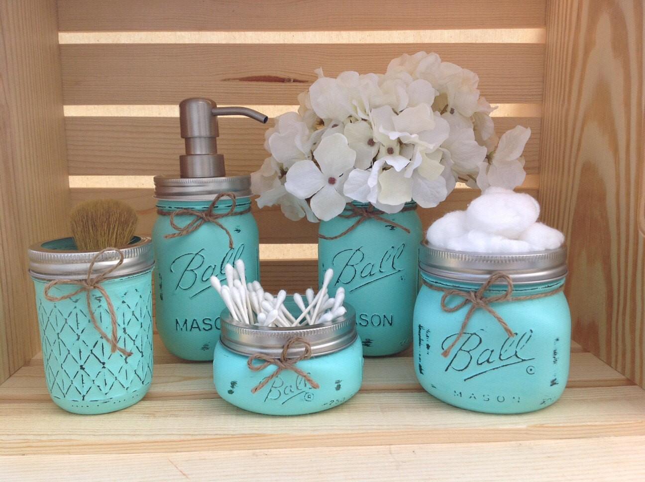 Mason Jar Bathroom Decor Best Of Mason Jar Bathroom Set Mason Jars Bathroom Decor Bridal by