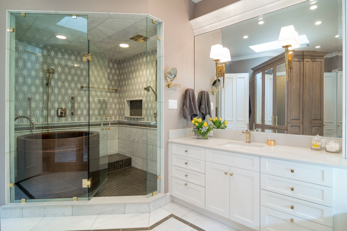 Master Bathroom Without Tub  White Bath Luxury The Kitchen Source