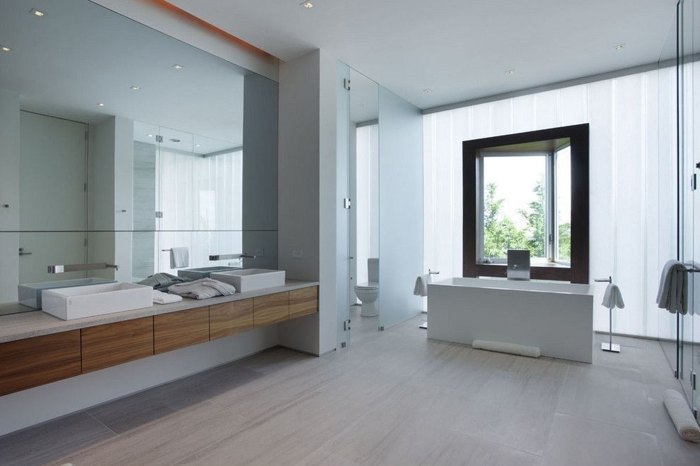 Master Bathroom Without Tub  Contemporary Master Bathroom with Vessel sink Rectangle