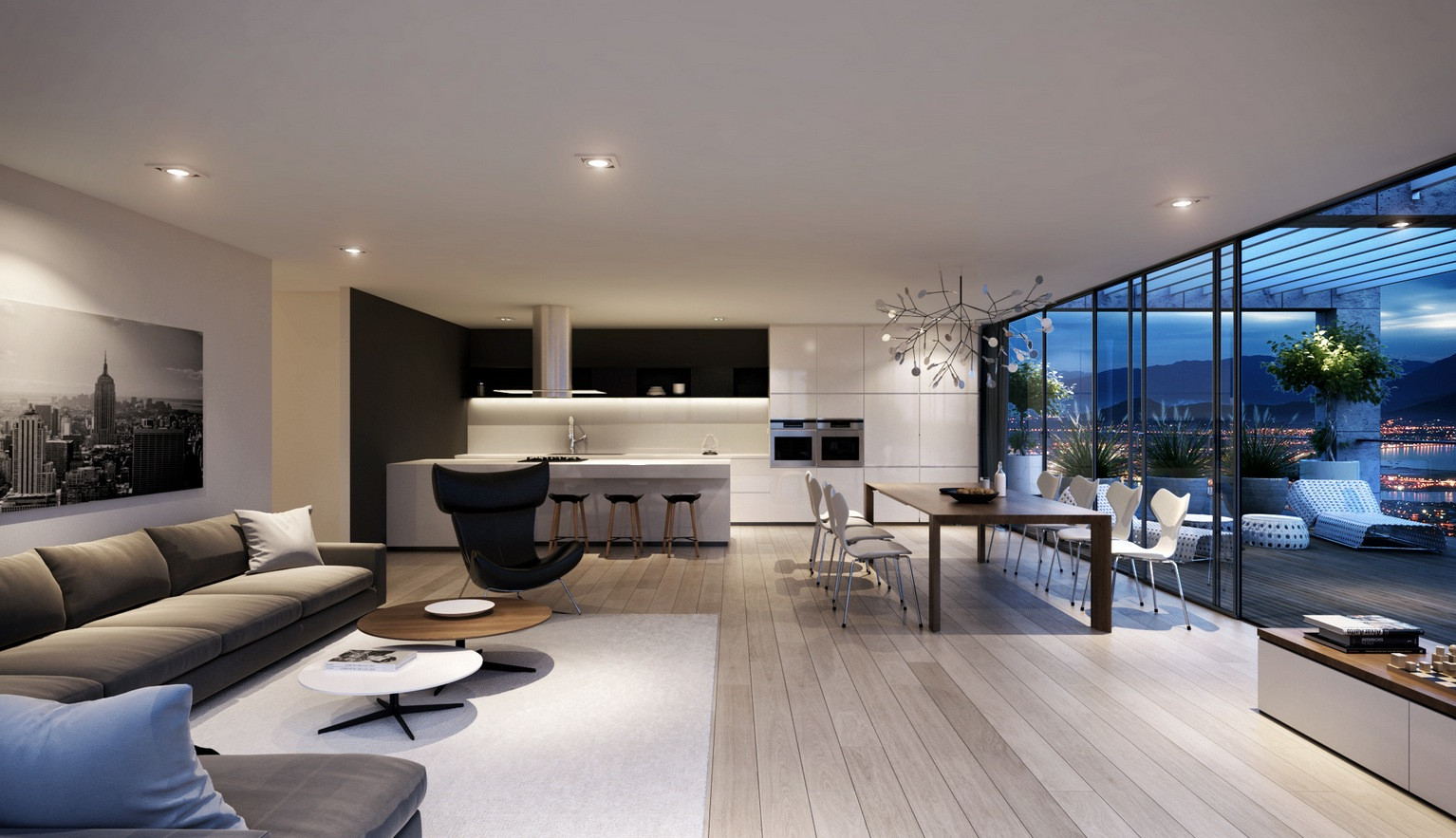 Modern Living Room  Spacious Modern Living Room Interiors
