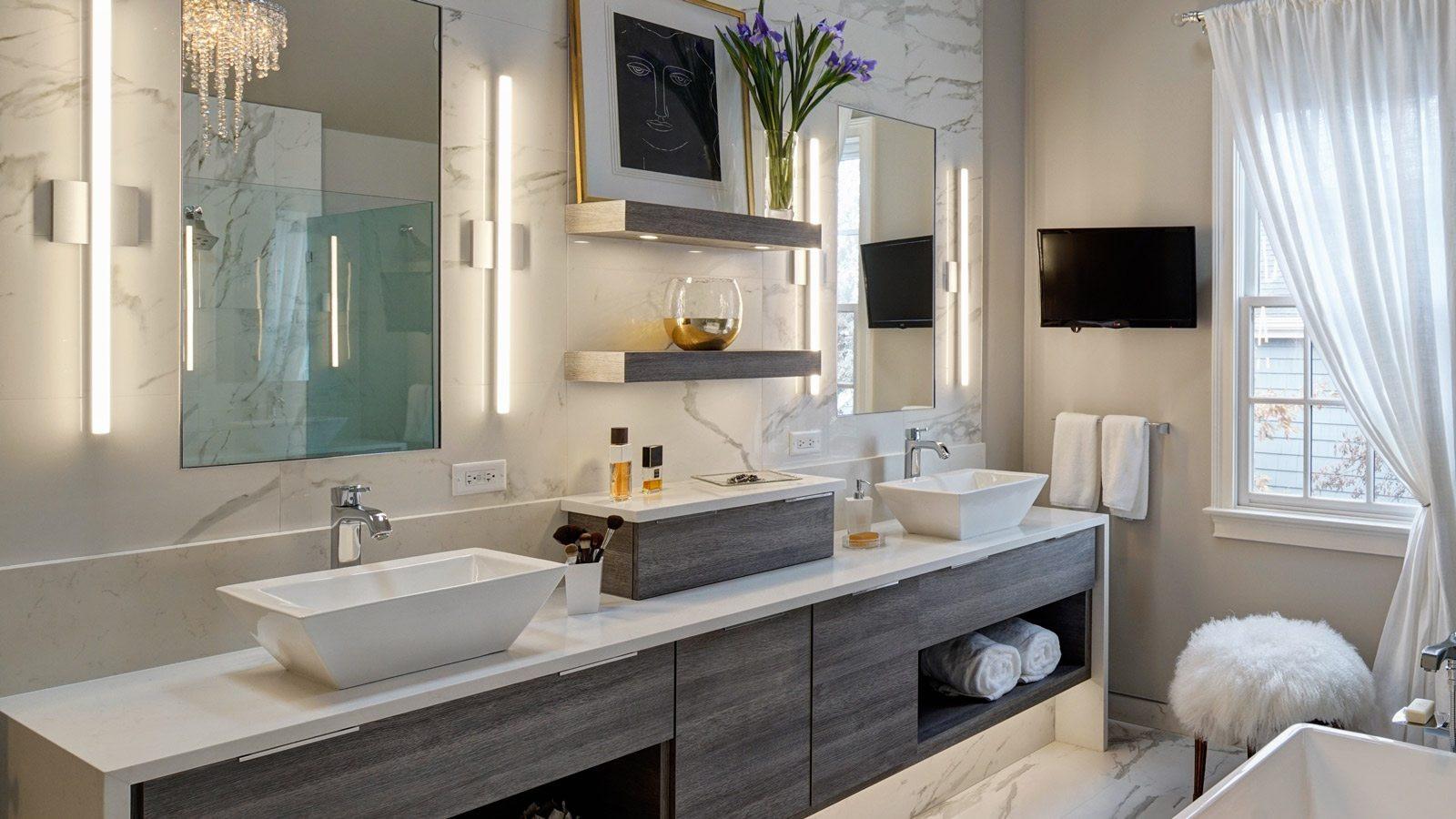 Modern Master Bathroom  Chic Contemporary Master Bath Redesign – Glen Ellyn