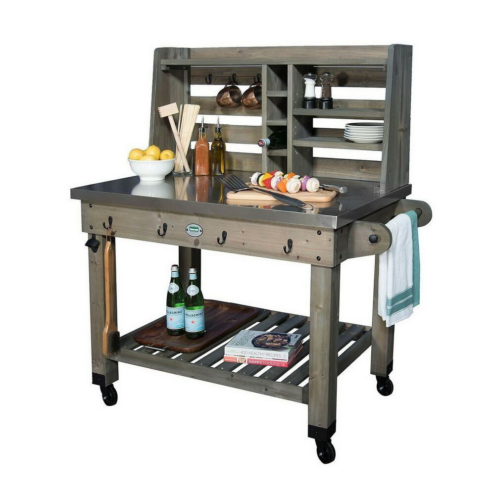 Outdoor Kitchen Prep Station  New Rolling Outdoor Kitchen Grill Prep Work Station Mobile