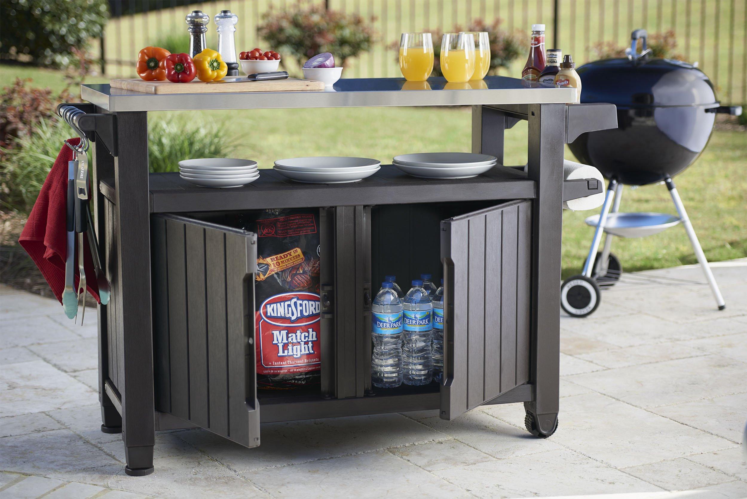 Outdoor Kitchen Prep Station  Keter Unity XL Indoor Outdoor Entertainment BBQ Storage