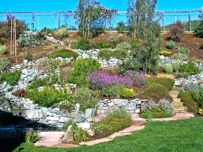 Outdoor Landscape Hill  Steep Terraced Landscape Patio How To Cope With A Sloping