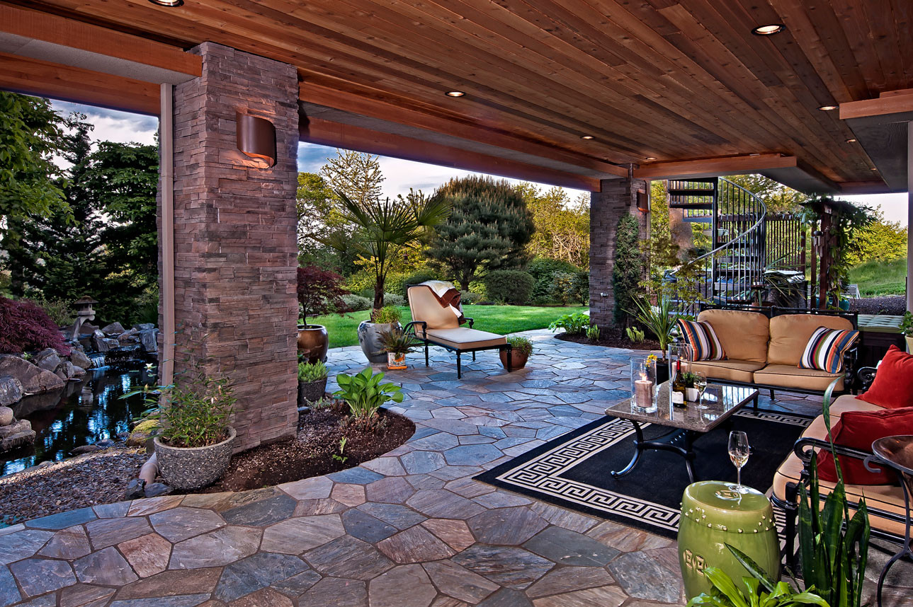 Outdoor Living Space Ideas  Outdoor Living Spaces with Water Feature and Greens