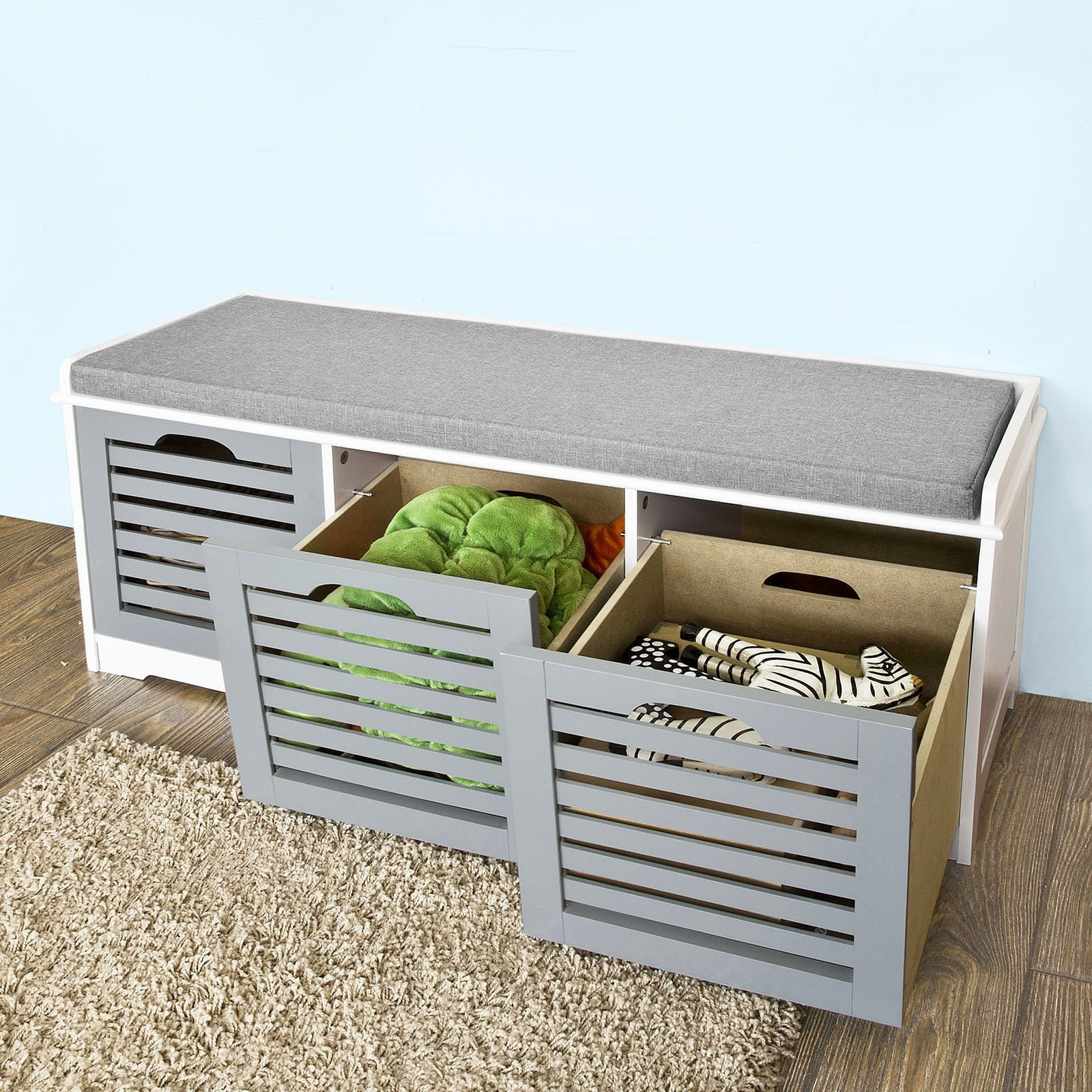Padded Bench Seat with Storage Beautiful Haotian Fsr23 Hg Storage Bench with 3 Drawers Padded Seat