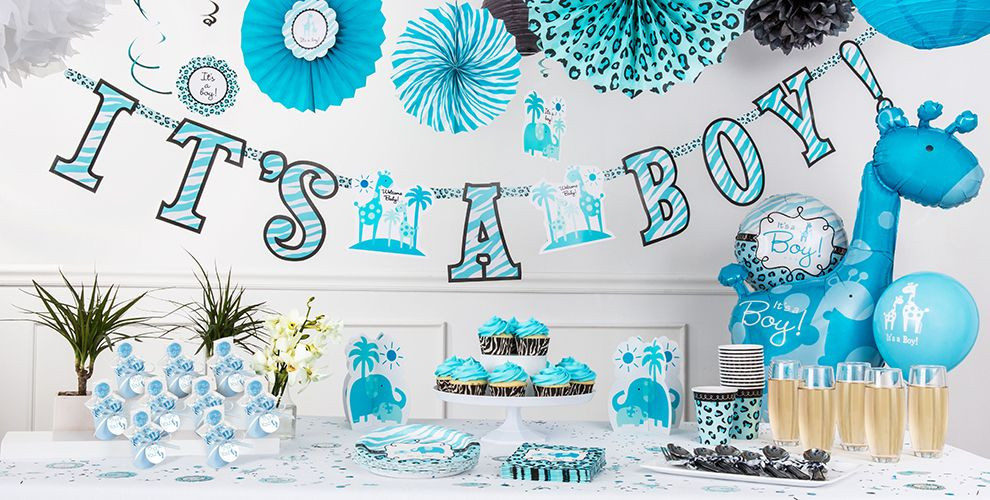 Party City Baby Shower Decorations  Blue Safari Baby Shower Decorations Party City