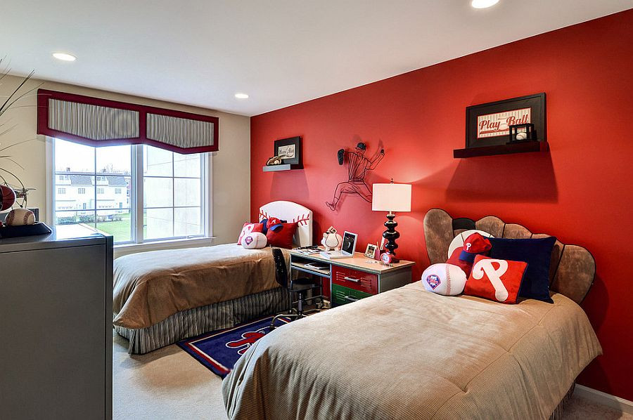 Red Kids Room  Baseball themed kids bedroom with a striking red accent