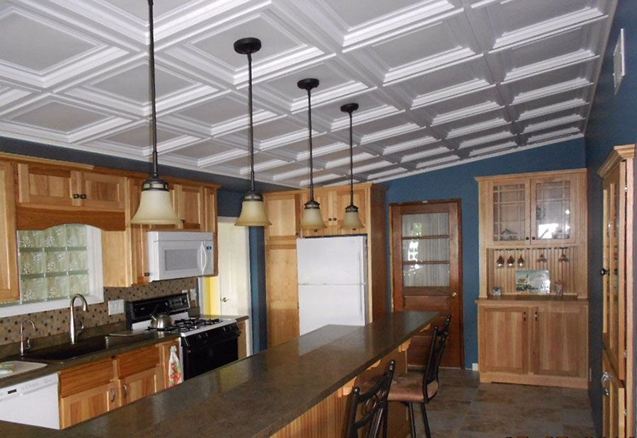 Restaurant Kitchen Ceiling Tiles  This kitchen got the look of a coffered ceiling for a
