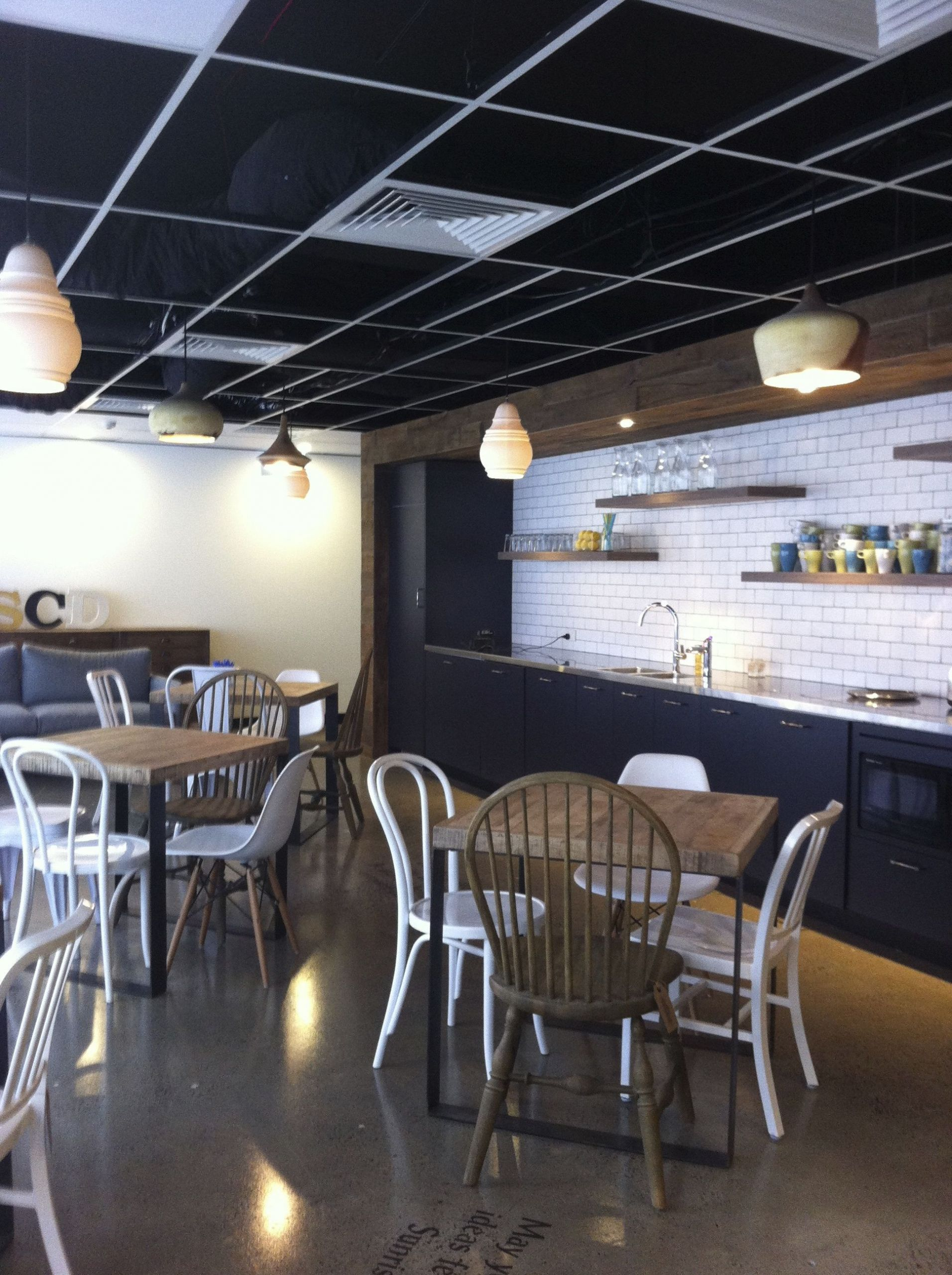 Restaurant Kitchen Ceiling Tiles  Charcoal and timber kitchen with matt subway tiles in