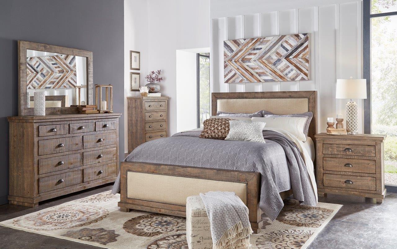 Rustic Bedroom Set King  Pine & Gray Casual Rustic 6 Piece King Bedroom Set